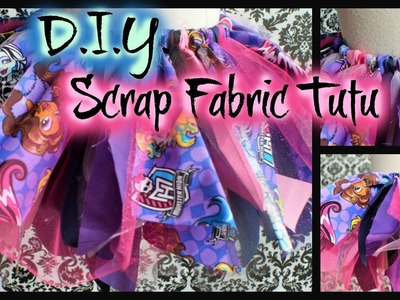 DIY Monster High Scrap Fabric Tutu