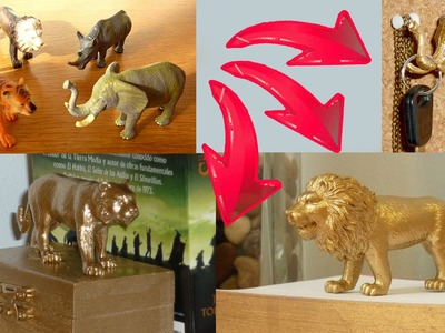 DIY ROOM DECOR ❤ 3 ideas upcycling plastic animal toys with spray paint!