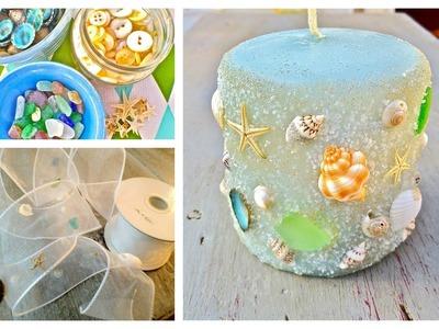 DIY Seashell, seaglass and sand Candles