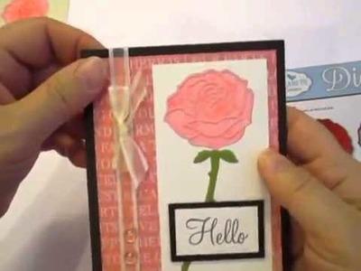 Glittered Rose Card with Elizabeth Craft Design dies