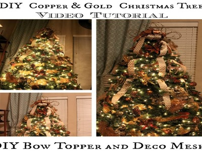 How to decorate a Christmas Tree, DIY Bow Topper and Deco Mesh Tutorial