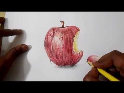 How to do colour pencil shading for apple