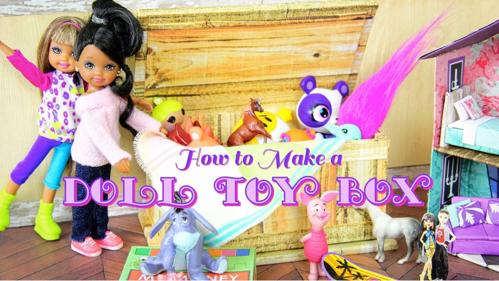 How to Make a Doll Toy Box, Tack Box, Coffee Table, Trunk - Doll Crafts