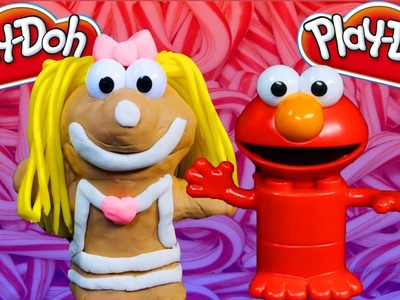 Sesame Street Elmo Play Doh Gingerbread Girl Princess Play Dough Tutorial Elmo's Lego Duplo DIY
