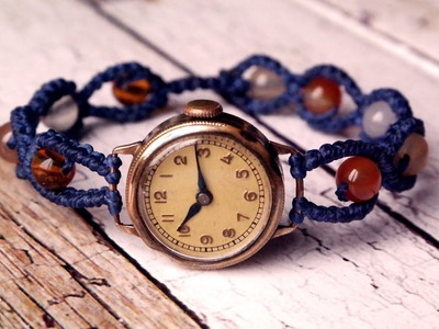 Simple  Watch Band with Beads -  Macrame Tutorial [DIY]