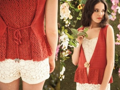 #26 Lacy Back Vest, Vogue Knitting Spring.Summer 2012