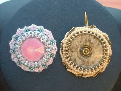 BeadsFriends: Beaded bezel earrings - Beaded bezel buttons earrings with Peyote Stitch
