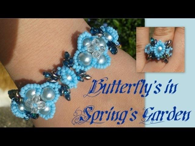Butterflies in Spring Garden Bracelet Beading Tutorial by HoneyBeads1