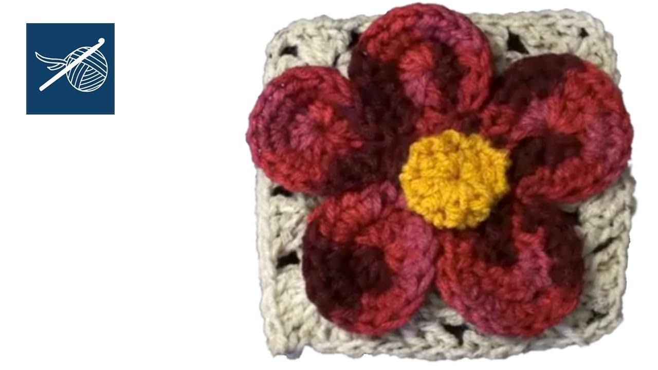 CROCHET GRANNY SQUARE with Flower Julia  Left Hand Version - CROCHET GEEK