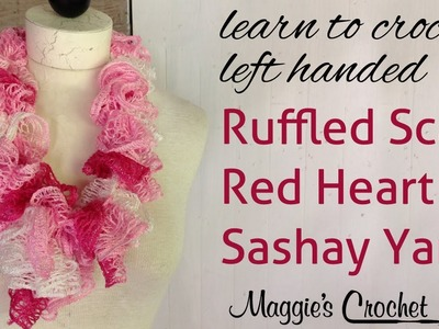 Crochet Red Heart Boutique Sashay Yarn Ruffle Scarf Left Handed