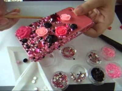 DIY Bling Bling Black and Pink Theme iphone4 casing