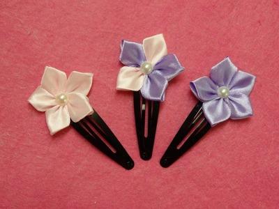 DIY kanzashi flower hairclips,ribbon flowers tutorial,how to make,kanzashi flores de cinta