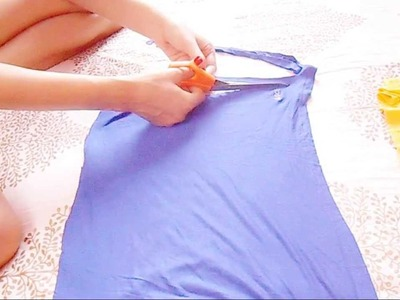 DIY: Old T-Shirt Into Hot Fringe Skirt. How To Make Skirt From Two Old Tops.Reconst