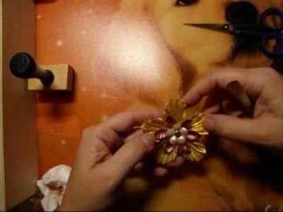 How to make Flower with pearls-powder card craft bookatris bookcards boekkaarten Jehovah
