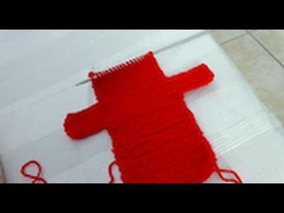 Me knitting teddy bear hand puppet