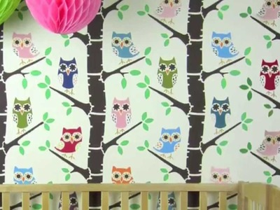 Nursery Decorating Ideas with Forest Full of Owls Wall Stencil