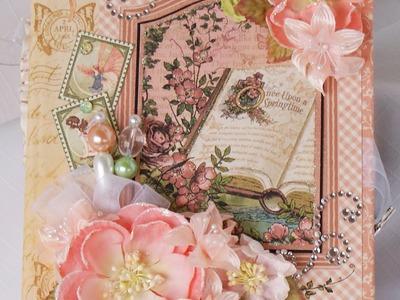"""Once Upon A Springtime Chip board Mini Scrapbook Photo Album"