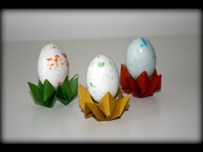 Origami tutorial - Flower egg cup