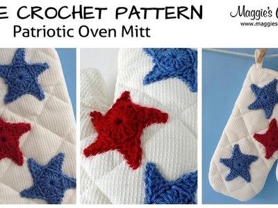 Patriotic Oven Mitt Free Crochet Pattern - Right Handed