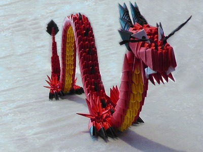 3D origami red Chinese dragon tutorial (instruction)