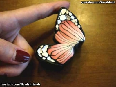 BeadsFriends: Polymer Clay - How To Make A Butterfly Cane | Butterfly Cabochon with Polymer Clay