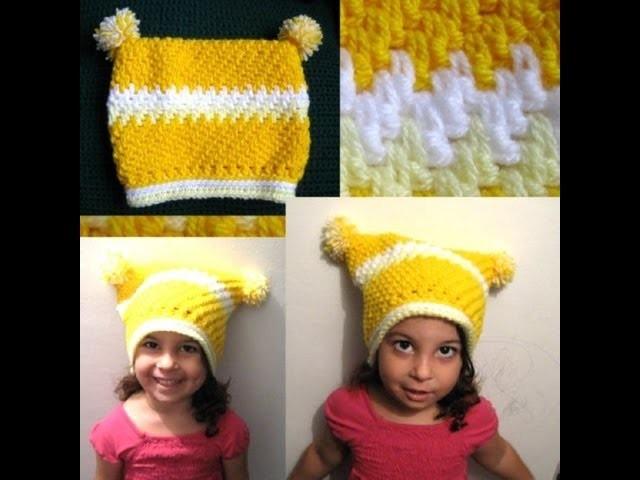 Childs Square Beanie - Crochet Tutorial - Thick Mesh. Brick Stitch