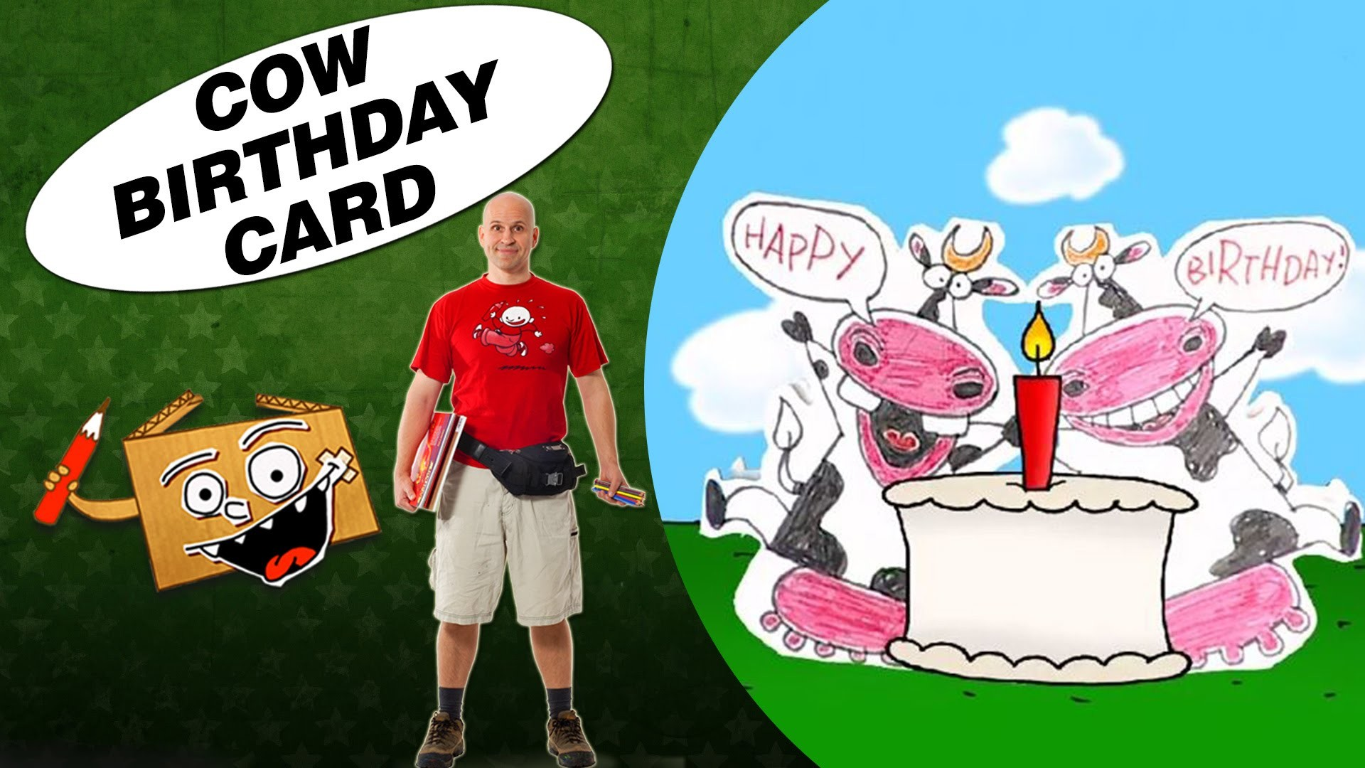 Crafts Ideas for Kids - Cow Birthday Card   DIY on BoxYourSelf