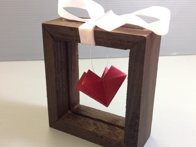 DIY Box Frame with Suspended Origami Heart Gift