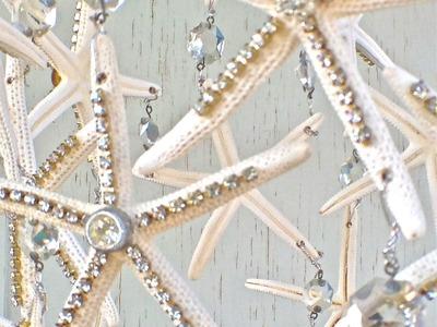 DIY Starfish and Rhinestone Chandelier