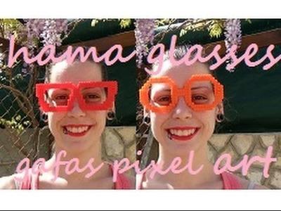 Hama beads glasses hipster gafas pixel art kawaii