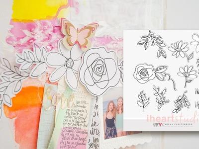 LOVE flower doodles Scrapbooking Process video by Wilna