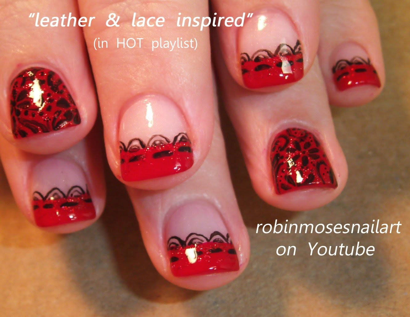 Nail Art Tutorial | DIY Valentine Nail Art Design | Sexy Black and Red Lace