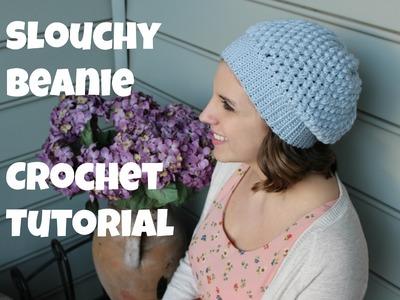 Puff Stitch Slouchy Beanie Crochet Tutorial | Sewrella