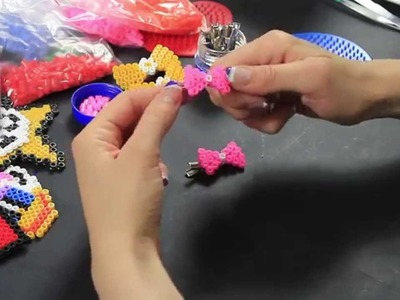 Video Tutorial Molletta per capelli Fermacapelli Hama Beads Fiocchetto Rosa Pyssla FULL HD ITA