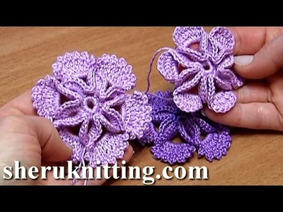 Crochet 3D Center Flower Tutorial 7 Blume mit leichtem 3D-Effekt häkeln