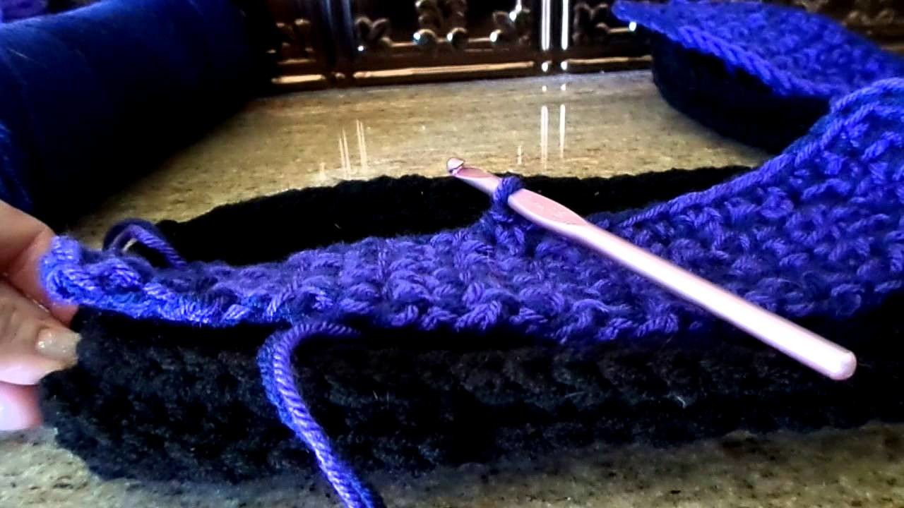 Crochet Slipper Boot Tutorial - Step 2- (Goes with the Back & Forth Sole)