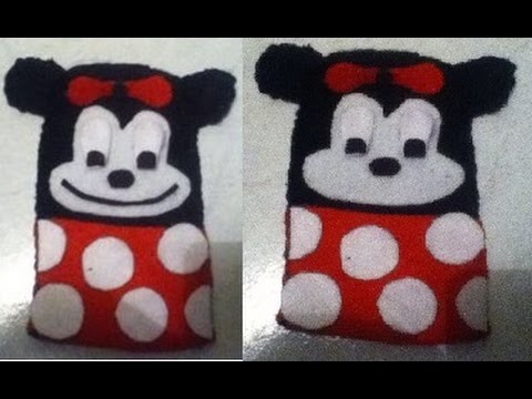 DIY-Tutorial de como hacer uns funda en forma de Minnie Mouse para iPhone, iPad o telefono ceular