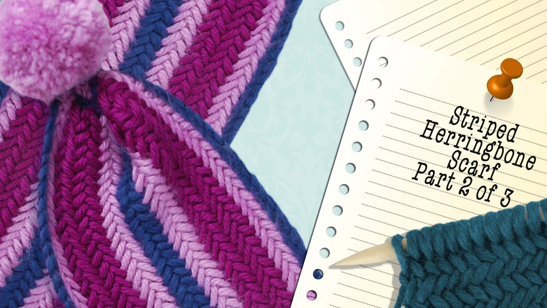 HERRINGBONE STRIPED SCARF - Part 2 of 3 video knitting projects by The Casting On Couch