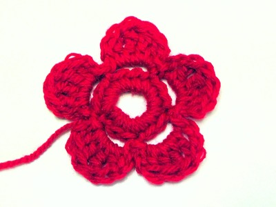 How to crochet a flower lefty version Schachenmayr Bravo Mezzo