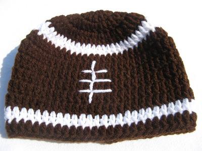 How to crochet a football beanie - Tambien en espanol