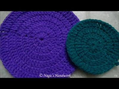 How to Crochet Circle - Flat Circle with Double Crochet-Learn to Crochet in Tamil By Nagu's Handwork