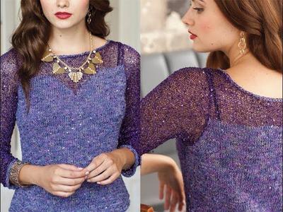 #1 Lace Yoke Pullover, Vogue Knitting Holiday 2013