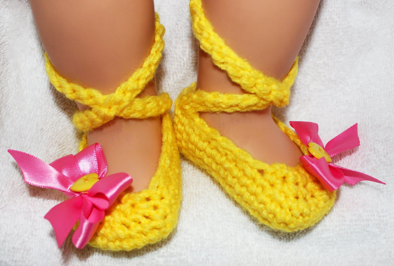 Ballerina Crochet Baby Booties - Left Hand Tutorial