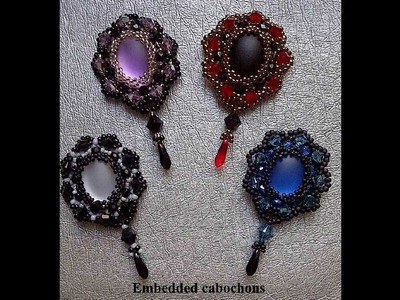Beading Tutorial DIY - Embedded cabochons to make earrings or pendants