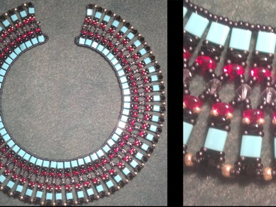 Beading4perfectionists : Cleopatra necklace with Tila, Superduo and Swarovski beads beading tutorial