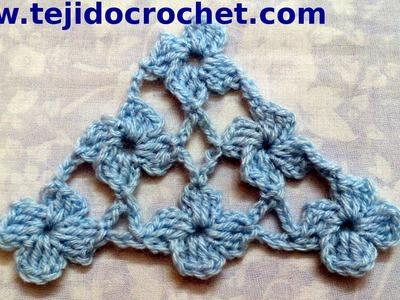 Chal en tejido crochet con Punto Margarita tutorial paso a paso.