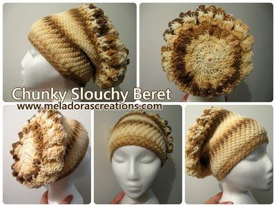 Chunky Slouchy Beret - Left Handed Crochet Tutorial - Thick crochet Mesh. Brick Stitch