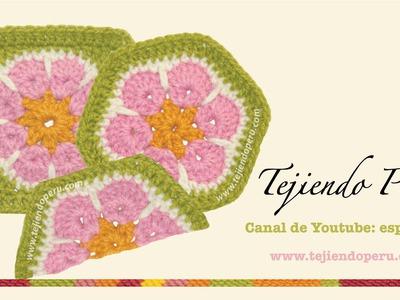 Cómo tejer una flor africana (african flower) a crochet: hexágono, cuadrado y medio hexágono