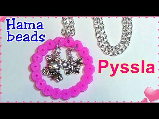 Colgante con cuentas Pyssla, Hama beads o Perler beads. DIY Hama beads necklace