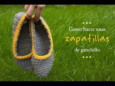 Cómo hacer unas zapatillas de Ganchillo | Crocheted slippers tutorial